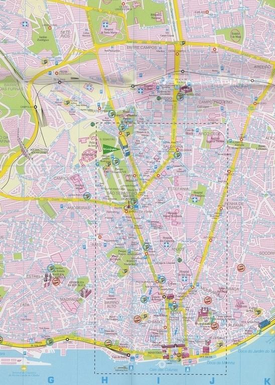 carte plan Lisbonne centre-ville et alentours sites touristiques