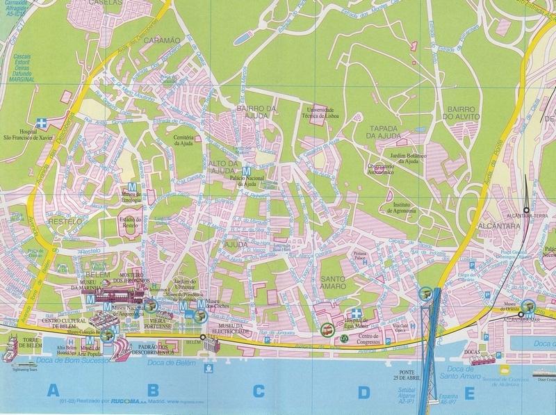 carte plan Lisbonne quartier de Belém docas pont du 25 avril et alentours
